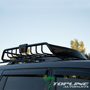 Black Roof Rack Basket Car Top Cargo Baggage Carrier Storage W wind Fairing T01