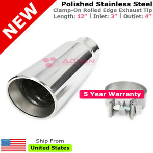 Truck Angled Polished 12in Clamp on Exhaust Tip Double Wall 3 In 4 Out 234420