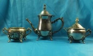 Vintage Silver Plated 3 Pieces Tea Coffee Set Need Polishing Unknown Brand