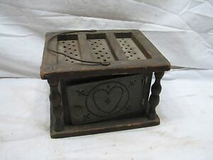Primitive Punched Tin Foot Bed Warmer Church School Sleigh Stove Heater Folk Art