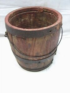 Antique Iron Banded Cooper Made Wooden Keg Barrel Paint Bucket Farm Tool Wood