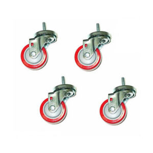 Set Of 4 Casters 3 Poly Wheels And 3 8 X 1 1 2 Tall Stem Threaded Stems
