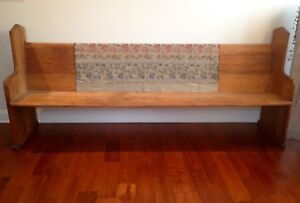 Collectible Solid Oak Church Pew Vintage Good Condition 2 Identical Pieces