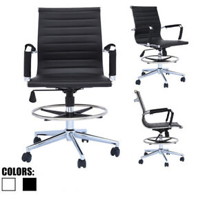 Modern Designer Ergonomic Office Drafting Chair Low Back With Arms