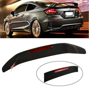For 2016 2018 Honda Civic Sedan Rear Trunk Spoiler Wing W Red Led 3rd Brake