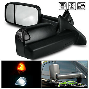 Power Heated Led Signal Black Smoke Towing Mirrors Pair For 2002 2008 Dodge Ram
