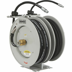 Roughneck Dual Grease oil Hose Reel W 50ft Hoses 1 4in Grease 1 2in Oil Hose