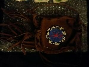 19th C Native American Indian Beaded Bag Pouch Plains