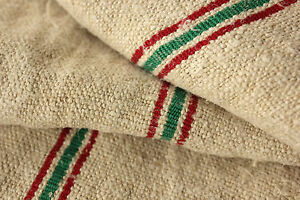 Hemp Fabric Vintage Homespun Christmas Table Runner Red Green Striped 2 6 Yds