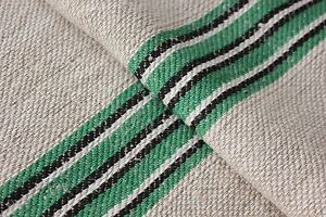 Vintage Grainsack Grain Sack Feed Black Green White Stripe Bag Fustian Fabric