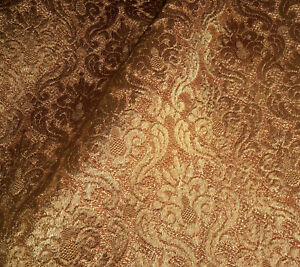 Antique Vintage French Gold Textural Scroll Jacquard Damask Furnishings Fabric