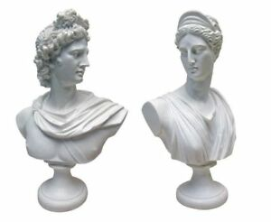 Diana Apollo God And Goddess Twins Bonded Marble Bust Sculpture Set Of 2