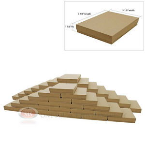 Large 50 Brown Kraft Cotton Filled Jewelry Gift Boxes 7 1 8 X 5 1 8 X 1 1 8 h