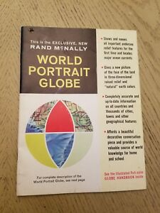 Vintage 1964 Rand Mcnally World Portrait Globe Handbook Guide Earth Facts Color