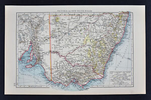 1887 Andrees Map Australia Victoria New South Wales Melbourne Sydney Adelaide