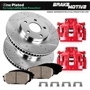 Front Red Brake Calipers And Rotors Ceramic Pads For 2005 2010 Ford Mustang