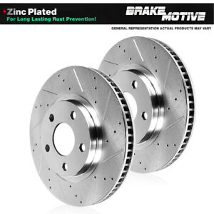 Front Drilled Slotted Plated Brake Rotors For Jaguar S type Xf Xk