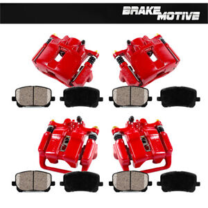 Front Rear Red Brake Calipers Ceramic Pads For 1999 2000 2001 Acura Rl