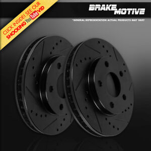 Rear Black Drill Slot Zinc Brake Rotors For 99 00 01 02 03 04 Ford Mustang