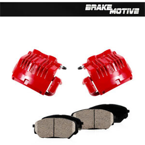 Front Red Coated Brake Calipers Ceramic Pads For 99 2000 2001 Ford Mustang