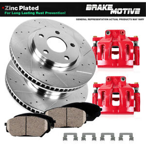 Front Red Brake Calipers And Rotors Pads For 2009 2010 2011 Dodge Dakota