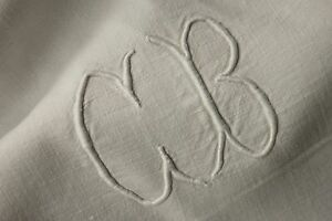 Pure Linen Antique French Sheet Finely Woven Fabric 89x129 Large Cb Monogram