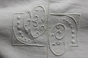 Antique French Linen Sheet Trousseau 109x83 Inches Mb Or Fc Monogram Textile
