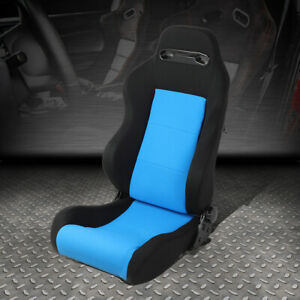 Universal Full Reclinable Blue black Type r Racing Seat W mounting Slider Rail