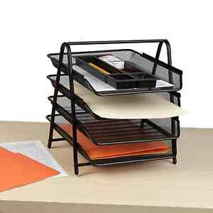 Mind Reader Desk Organizer With 4 Sliding Trays For Letters Documents Mail