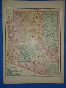 Vintage 1895 Arizona Territory Map Old Antique Original Atlas Map 2519