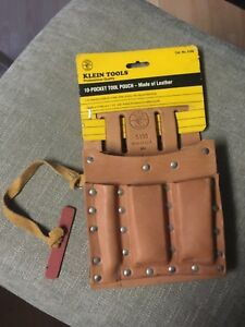 Klein Tools 5190 Leather 10 Pocket Tool Pouch New