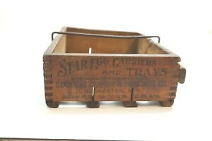Antique 1906 Star Egg Carriers And Trays Wooden Egg Carrier With Handle Dovetail