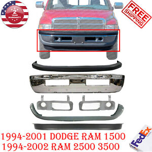 Complete 6pc Front Bumper Kit For 94 02 Dodge Ram 1500 2500 3500 Chrome Valance