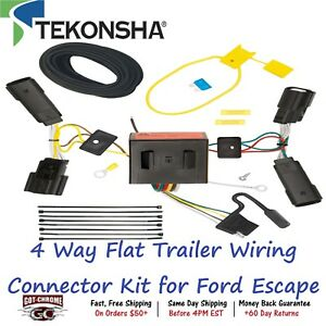 118566 Tekonsha T one 4 Way Flat Trailer Wiring Connector Kit For Ford Escape