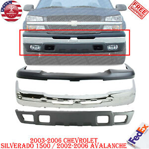 Front Chrome Steel Bumper Kit For 2003 2006 Chevrolet Silverado 1500 Avalanche