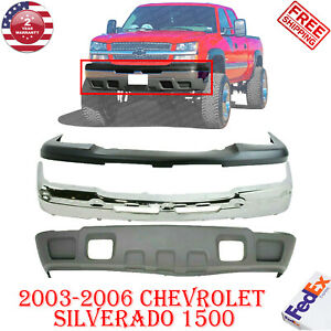 Front Bumper Chrome Upper Cover Lower Valance For 03 06 Chevy Silverado 1500
