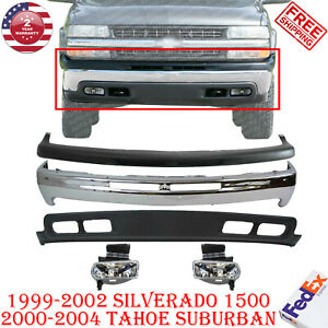Front Bumper Kit With Fog Lamp For 99 2002 Silverado 1500 00 04 Tahoe Suburban