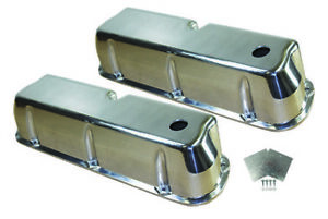 Sb Ford Polished Aluminum Tall Smooth Valve Covers W Grommets 289 302 351w Sbf