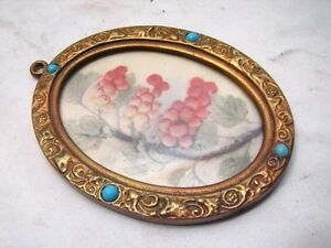 Small Antique Cast Brass Ornate Picture Photo Frame Oval Button
