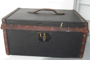 Antique Leather Covered Wooden Document Box Tacked Leather Trim Handle Nice