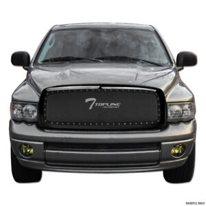 Topline For 2002 2005 Dodge Ram Rivet Bolt Steel Mesh Front Bumper Grille Black