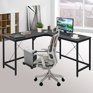 L shaped Corner Computer Desk Home Office Pc Wood Smooth Tabletop Easy Install