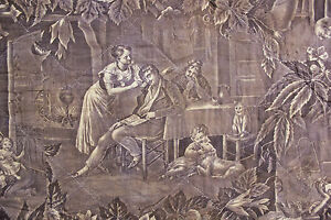 Toile Fabric Antique French Purple Bed Hanging Alsace Valance Printed C1830 40