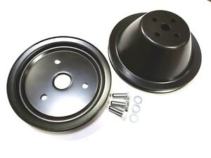 Small Block Chevy Black Steel Short Water Pump 1 Groove Pulley Kit Set Sbc 350
