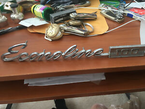 Vintage Car Emblem 14 Inch With Pins Metal Econoline 100 Ford
