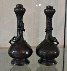 Rare Pair Of Chinese Ming Bronze 16th 17th C Garlic Mouthed Vases With Lizards