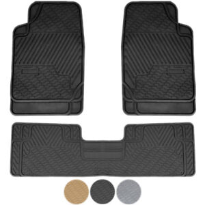 New 3pc High Quality All Weather Car Rubber Floor Mats Liner Set American Cars