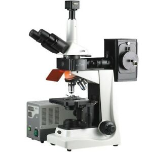 Amscope 40x 1600x Epi Fluorescence Trinocular Microscope 5mp Digital Camera