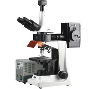 Amscope 40x 1600x Epi Fluorescence Trinocular Microscope 8mp Digital Camera