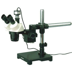 Amscope 20x 40x Stereo Microscope On Boom Stand Fluo Light Camera